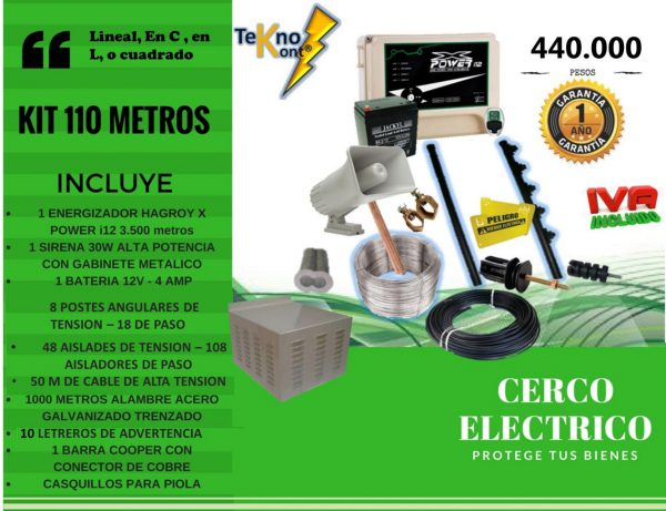 ''kit 110 metros cerco electrico''